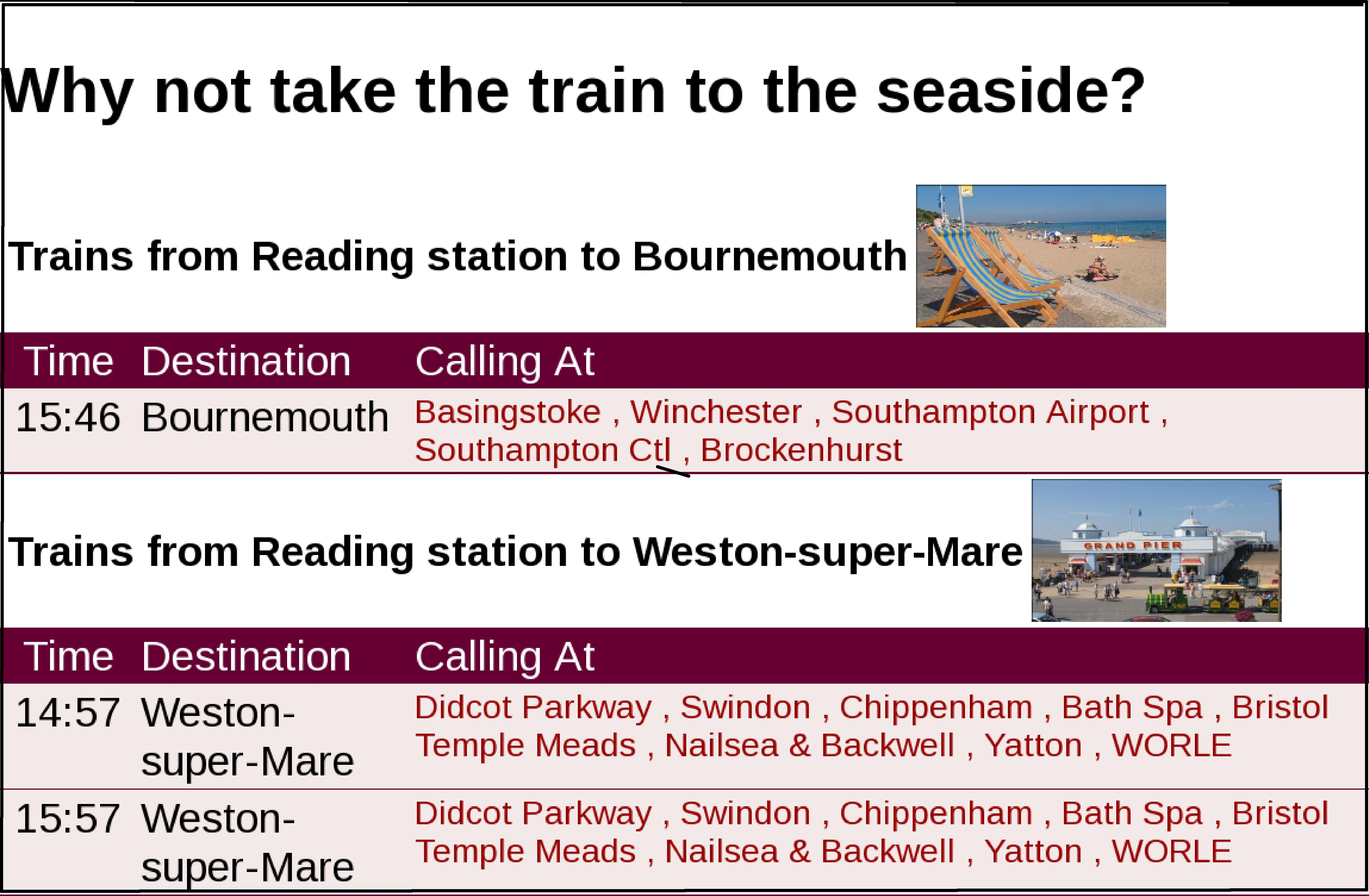 Illustration of real-time rail departure notices for seaside resorts